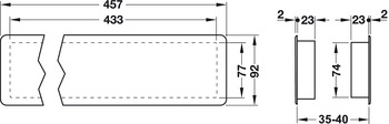pl/ástico ABS rectangular con tornillos 457 x 92 mm Rejilla de ventilaci/ón para puerta